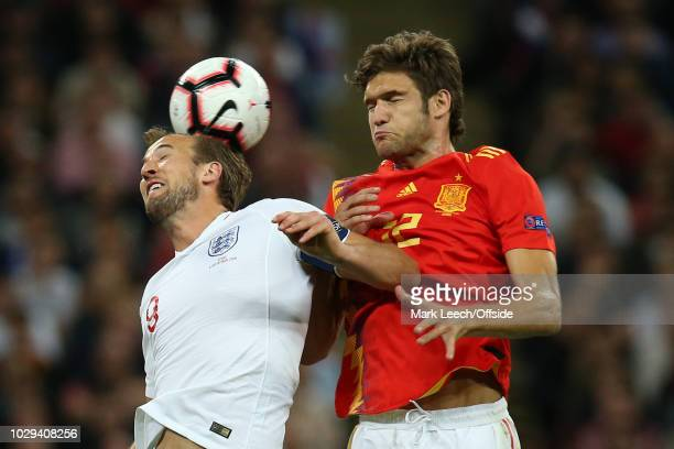Harry Kane of England battles with Marcos Alonso of Spain during the UEFA Nations League A group four match between England and Spain at Wembley...