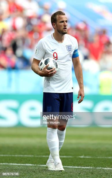 Harry Kane of England carries the ball on the penalty spot during the 2018 FIFA World Cup Russia group G match between England and Panama at Nizhny...