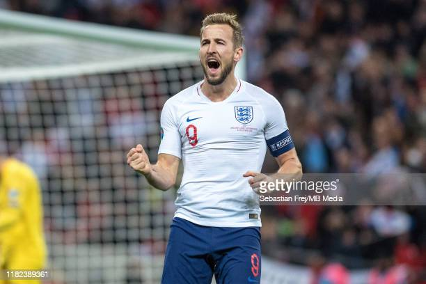 Harry Kane of England celebrate after scoring hes 3rd goal during the UEFA Euro 2020 qualifier between England and Montenegro at Wembley Stadium on...