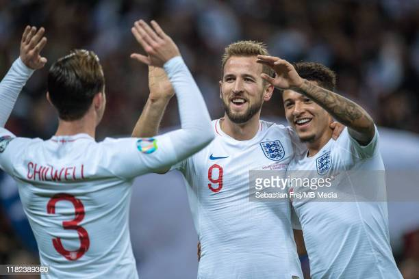 Harry Kane of England celebrate with hes team mates Ben Chilwell and Jadon Sancho after scoring hes 2nd goal during the UEFA Euro 2020 qualifier...