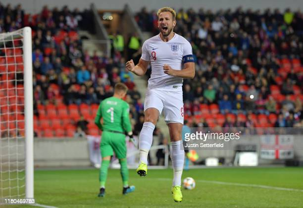 Harry Kane of England celebrates after he scores his sides first goal from the penalty spot during the UEFA Euro 2020 qualifier between Czech...