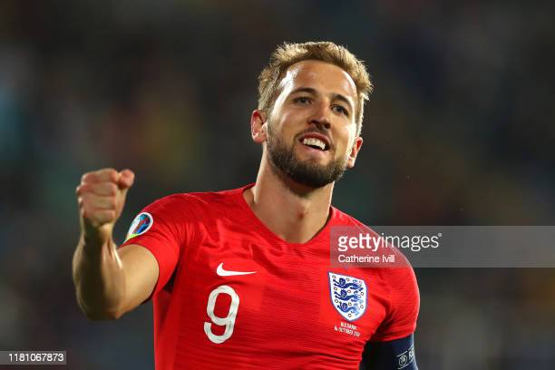 Harry Kane of England celebrates after he scores his sides sixth goal during the UEFA Euro 2020 qualifier between Bulgaria and England on October 14,...