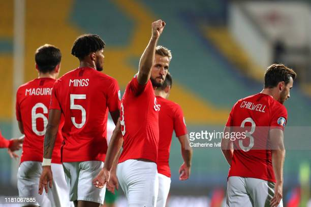 Harry Kane of England celebrates after he scores his sides sixth goal during the UEFA Euro 2020 qualifier between Bulgaria and England on October 14...
