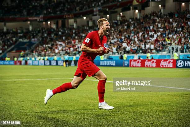 Harry Kane of England celebrates after he scores his team's second goal during the 2018 FIFA World Cup Russia group G match between Tunisia and...