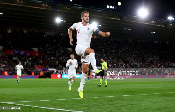 Harry Kane of England celebrates after putting his team 21 up during the UEFA Euro 2020 qualifier match between England and Kosovo at St Mary's...