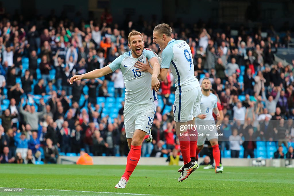 Harry Kane of England celebrates after scoring a goal to make it 1-0 with Jamie Vardy during the International Friendly match between England and Turkey at Etihad Stadium on May 22, 2016 in Manchester, England.