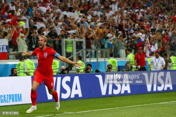 Harry Kane of England celebrates after scoring a goal to make it 12 during the 2018 FIFA World Cup Russia group G match between Tunisia and England...