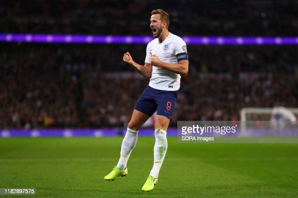 Harry Kane of England celebrates after scoring a goal to make it 2-0 during the UEFA Euro 2020 qualifier match between England and Montenegro at...