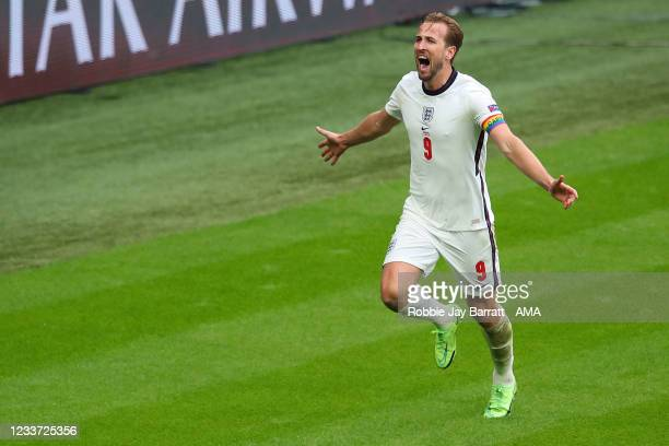 Harry Kane of England celebrates after scoring a goal to make it 2-0 during the UEFA Euro 2020 Championship Round of 16 match between England and...