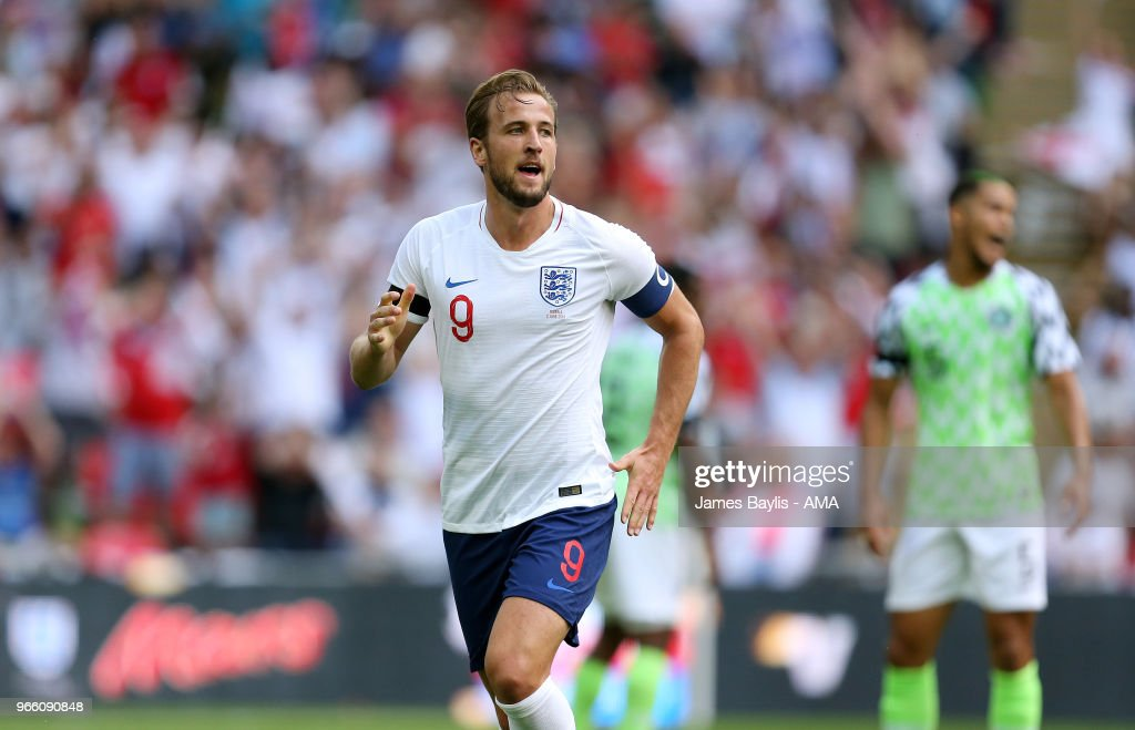 Harry Kane of England celebrates after scoring a goal to make it 2-0 during the International Friendly between England and Nigeria at Wembley Stadium on June 2, 2018 in London, England.