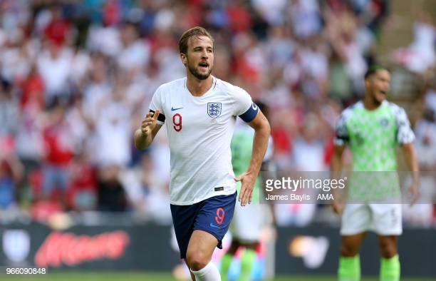 Harry Kane of England celebrates after scoring a goal to make it 20 during the International Friendly between England and Nigeria at Wembley Stadium...