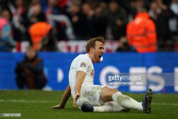 Harry Kane of England celebrates after scoring a goal to make it 21 during the UEFA Nations League A group four match between England and Croatia at...