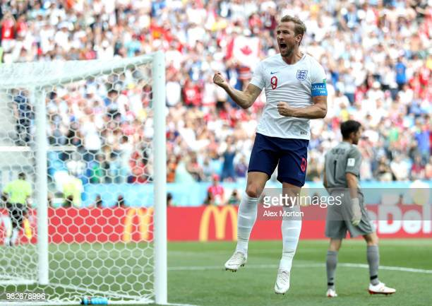 Harry Kane of England celebrates after scoring a penalty for his team's second goal during the 2018 FIFA World Cup Russia group G match between...