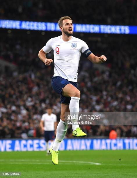 Harry Kane of England celebrates after scoring his sides fifth goal during the UEFA Euro 2020 qualifier between England and Montenegro at Wembley...