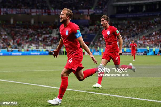 Harry Kane of England celebrates after scoring his sides first goal during the 2018 FIFA World Cup Russia group G match between Tunisia and England...