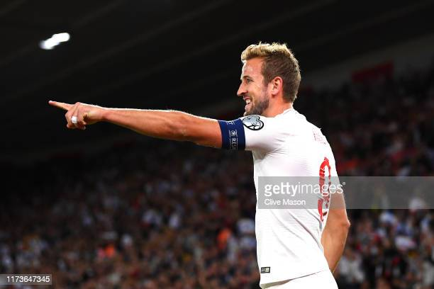Harry Kane of England celebrates after scoring his sides second goal during the UEFA Euro 2020 qualifier match between England and Kosovo at St...