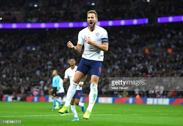 Harry Kane of England celebrates after scoring his sides second goal during the UEFA Euro 2020 qualifier between England and Montenegro at Wembley...