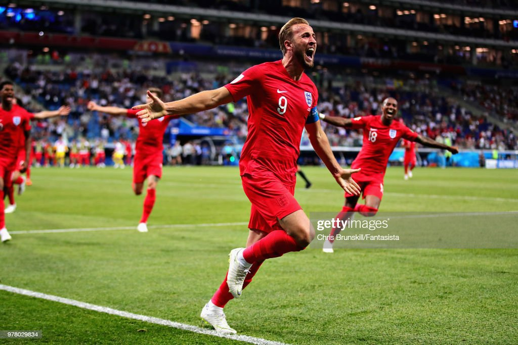 Harry Kane of England celebrates after scoring his sides second goal during the 2018 FIFA World Cup Russia group G match between Tunisia and England at Volgograd Arena on June 18, 2018 in Volgograd, Russia.