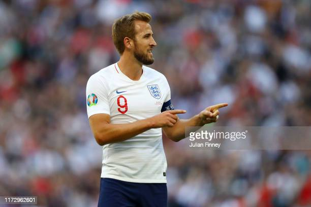Harry Kane of England celebrates after scoring his team's first goal during the UEFA Euro 2020 qualifier match between England and Bulgaria at...
