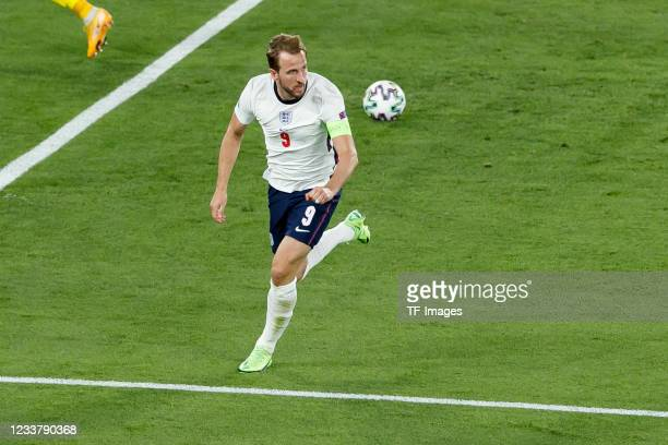 Harry Kane of England celebrates after scoring his team's first goal during the UEFA Euro 2020 Championship Quarter-final match between Ukraine and...