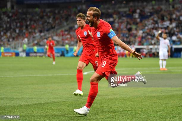 Harry Kane of England celebrates after scoring his team's first goal during the 2018 FIFA World Cup Russia group G match between Tunisia and England...