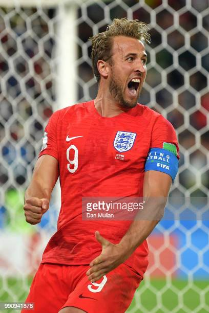 Harry Kane of England celebrates after scoring his team's first goal during the 2018 FIFA World Cup Russia Round of 16 match between Colombia and...