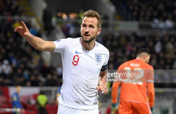 Harry Kane of England celebrates after scoring his team's second goal during the UEFA Euro 2020 Qualifier between Kosovo and England at the Pristina...