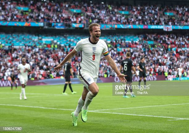Harry Kane of England celebrates after scoring his team's second goal during the UEFA Euro 2020 Championship Round of 16 match between England and...