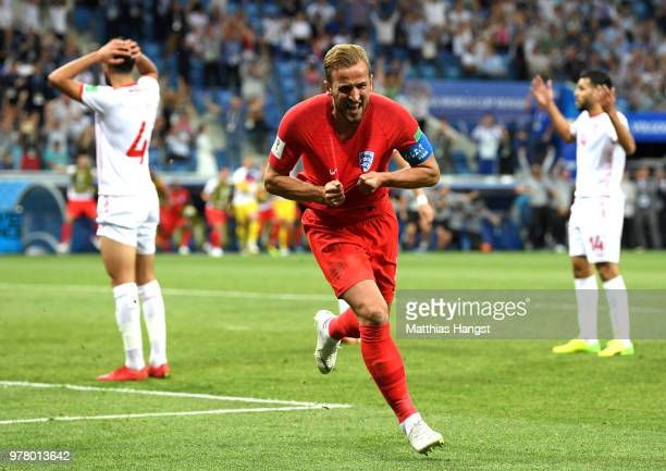 Harry Kane of England celebrates after scoring his team's second goal during the 2018 FIFA World Cup Russia group G match between Tunisia and England...