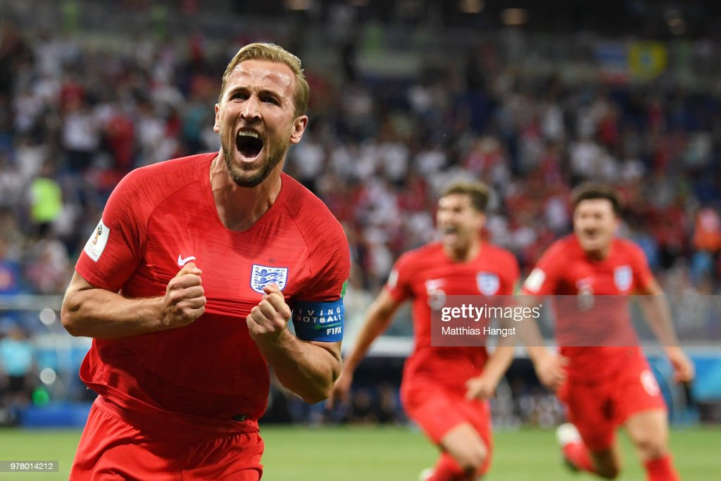 Harry Kane of England celebrates after scoring his team's second goal during the 2018 FIFA World Cup Russia group G match between Tunisia and England at Volgograd Arena on June 18, 2018 in Volgograd, Russia.