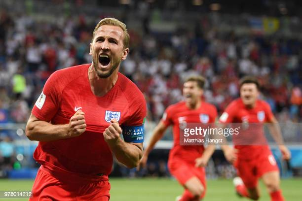 Huddersfield Town flag is seen during the 2018 FIFA World Cup Russia group G match between Tunisia and England at Volgograd Arena on June 18 2018 in...