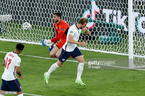 Harry Kane of England celebrates after scoring his team's third goal during the UEFA Euro 2020 Championship Quarter-final match between Ukraine and...