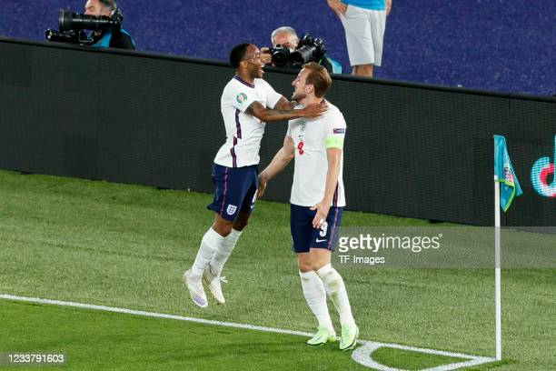 Harry Kane of England celebrates after scoring his team's third goal with teammates during the UEFA Euro 2020 Championship Quarter-final match...