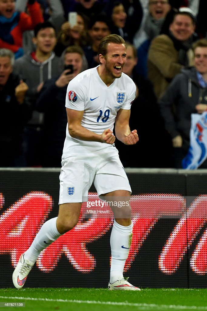 Harry Kane of England celebrates after scoring on his debut during the EURO 2016 Qualifier match between England and Lithuania at Wembley Stadium on March 27, 2015 in London, England.