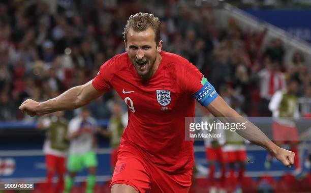 Harry Kane of England celebrates after scoring penalty during the 2018 FIFA World Cup Russia Round of 16 match between Colombia and England at...