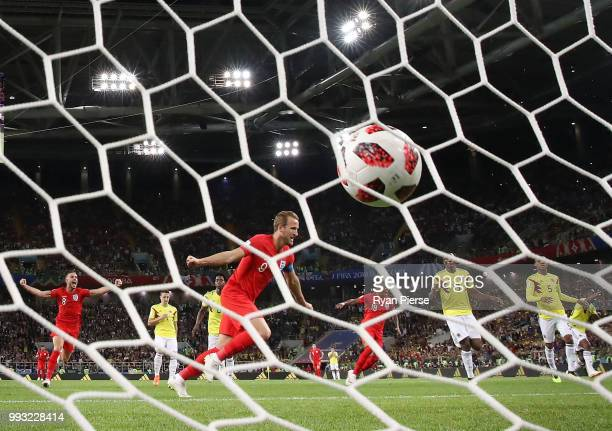 Harry Kane of England celebrates after scoring the opening goal from a penalty past David Ospina of Colombia during the 2018 FIFA World Cup Russia...