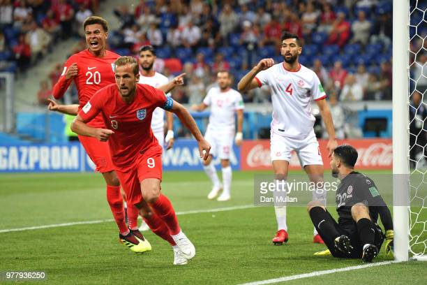 Harry Kane of England celebrates after scoring the opening goal during the 2018 FIFA World Cup Russia group G match between Tunisia and England at...