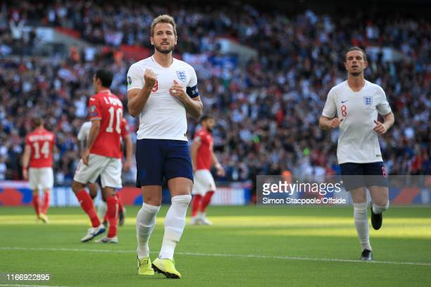Harry Kane of England celebrates after scoring their 2nd goal during the UEFA Euro 2020 qualifier match between England and Bulgaria at Wembley...