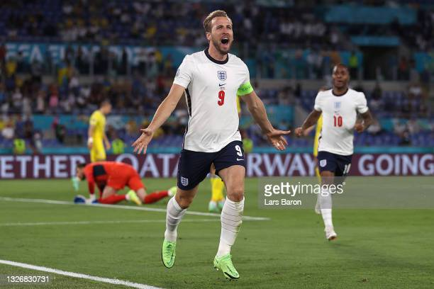 Harry Kane of England celebrates after scoring their side's first goal during the UEFA Euro 2020 Championship Quarter-final match between Ukraine and...