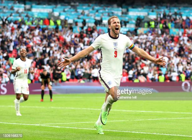 Harry Kane of England celebrates after scoring their side's second goal during the UEFA Euro 2020 Championship Round of 16 match between England and...