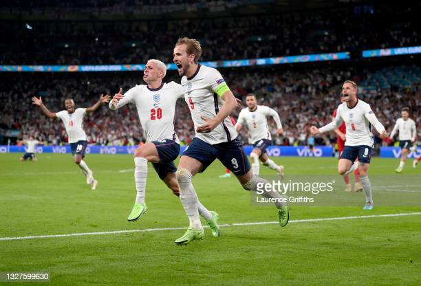 Harry Kane of England celebrates after scoring their side's second goal during the UEFA Euro 2020 Championship Semi-final match between England and...