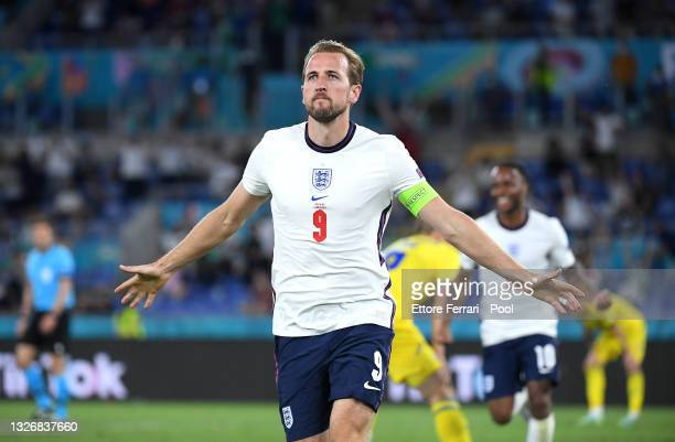 Harry Kane of England celebrates after scoring their side's third goal during the UEFA Euro 2020 Championship Quarter-final match between Ukraine and...