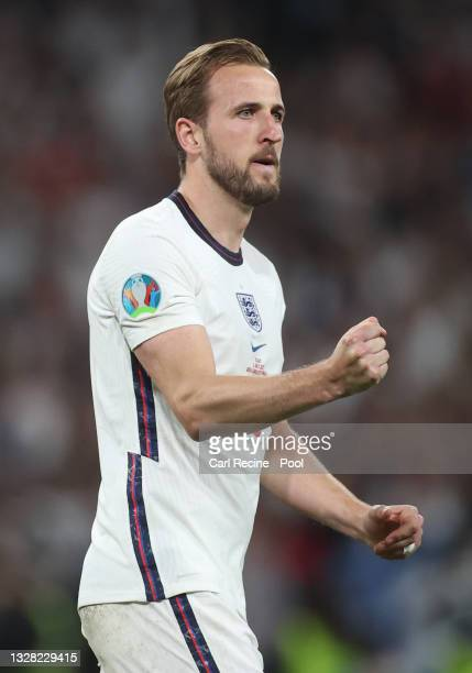 Harry Kane of England celebrates after taking and scoring his penalty during the penalty shoot out following extra time during the UEFA Euro 2020...