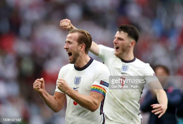 Harry Kane of England celebrates after victory in the UEFA Euro 2020 Championship Round of 16 match between England and Germany at Wembley Stadium on...