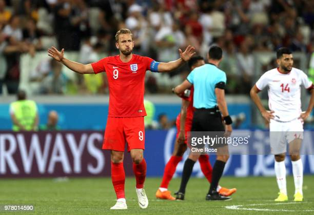 Harry Kane of England celebrates following his sides victory in the 2018 FIFA World Cup Russia group G match between Tunisia and England at Volgograd...