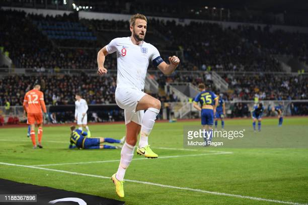 Harry Kane of England celebrates his goal to make it 2-0 during the UEFA Euro 2020 Qualifier between Kosovo and England on November 17, 2019 in...