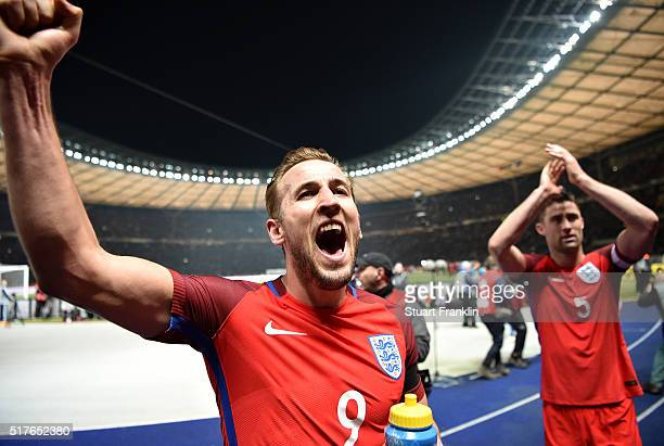 Harry Kane of England celebrates his team's 32 win after the International Friendly match between Germany and England at Olympiastadion on March 26...