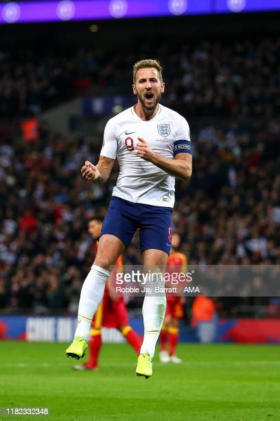 Harry Kane of England Celebrates scoring a goal to make it 2-0 during the UEFA Euro 2020 qualifier between England and Montenegro at Wembley Stadium...