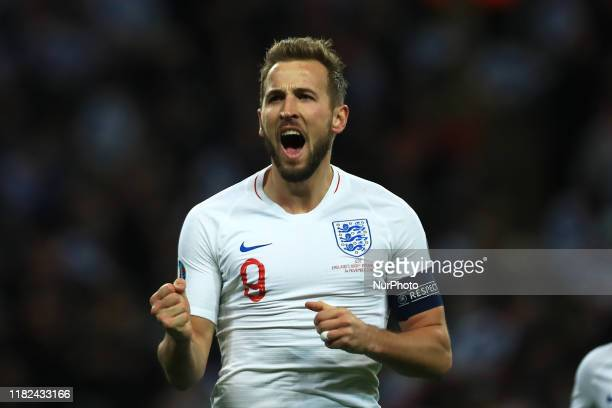 Harry Kane of England celebrates scoring his sides 5th goal during the UEFA European Championship Group A Qualifying match between England and...