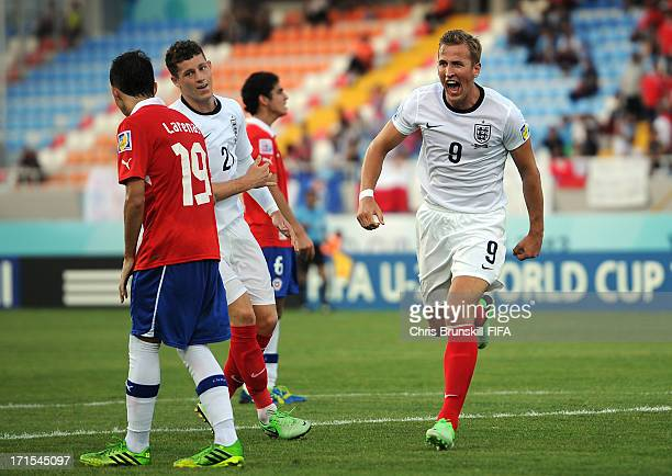Harry Kane of England celebrates scoring his side's first goal during the FIFA U20 World Cup Group E match between Chile and England at Akdeniz...